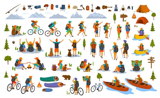 collection of hiking trekking people. young man woman couple hikers travel outdoors with mountain bikes kayaks camping