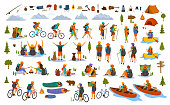 collection of hiking trekking people. young man woman couple hikers travel outdoors with mountain bikes kayaks camping, search locations on map, sightseeing discover nature graphic, isolated vector scenes set