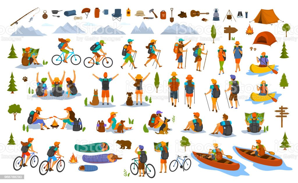collection of hiking trekking people. young man woman couple hikers travel outdoors with mountain bikes kayaks camping vector art illustration