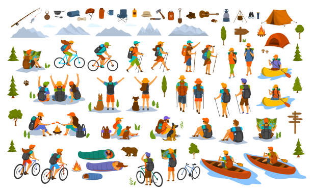 ilustrações de stock, clip art, desenhos animados e ícones de collection of hiking trekking people. young man woman couple hikers travel outdoors with mountain bikes kayaks camping - aventura