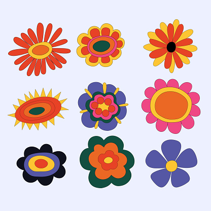 collection of hippie flowers. vintage vector wildflowers.Funky and groove isolated plant elements.Plants of the 60s and 70s.Naive childish style by hand.Open-air flower festival.Forget-me-not, daisy.