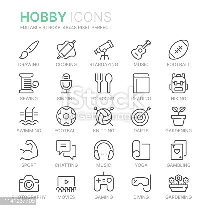 Collection of hobbies line icons. 48x48 Pixel Perfect. Editable stroke