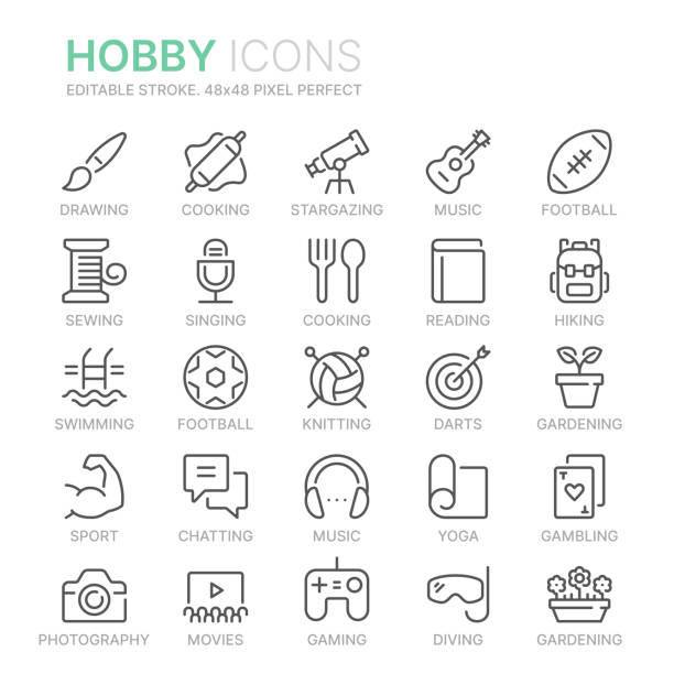 stockillustraties, clipart, cartoons en iconen met verzameling van hobbies line iconen. 48x48 pixel perfect. bewerkbare lijn - hobby's