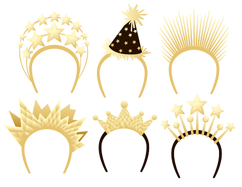Collection of holiday head jewelry hoop crown stars flat vector illustration on white background