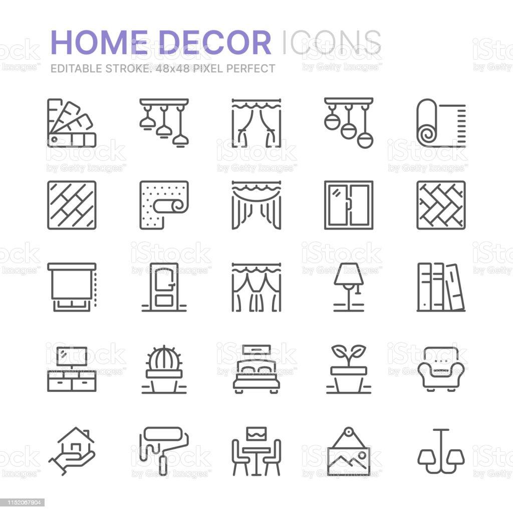 Insamling av hem inredning relaterade linje ikoner. 48x48 pixel perfekt. Redigerbar stroke - Royaltyfri Arbeta vektorgrafik