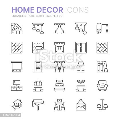 Collection of home decor related line icons. 48x48 Pixel Perfect. Editable stroke
