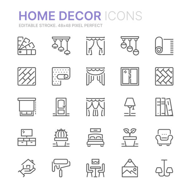 ilustrações de stock, clip art, desenhos animados e ícones de collection of home decor related line icons. 48x48 pixel perfect. editable stroke - interior