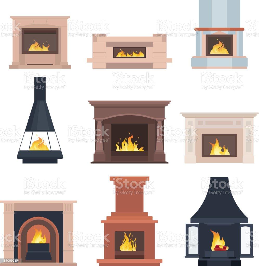 Sammlung von Hause verschiedene Kamine zum Einfügen in das Innere des Haus-Telefon oder Computer-Spiele. Vektor-Illustration isoliert auf weißem Hintergrund – Vektorgrafik