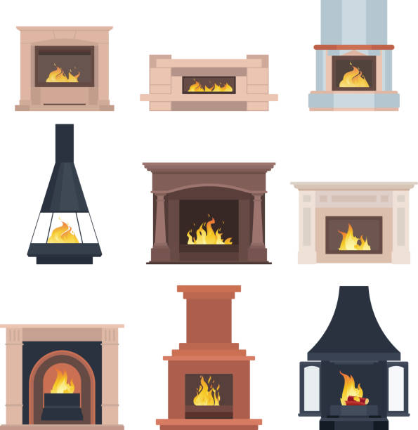 ilustrações de stock, clip art, desenhos animados e ícones de collection of home different fireplaces to paste in the interior of the house phone or computer games. vector illustration isolated on white background - braseiro