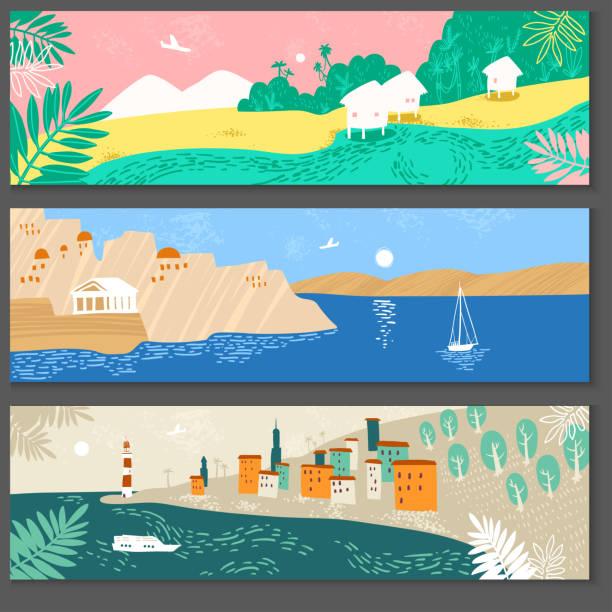 Collection d'illustrations horizontales de paysage avec des stations de mer. - Illustration vectorielle