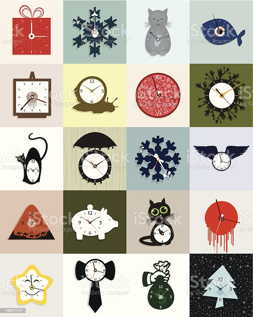 Collection of hours royalty-free stock vector art
