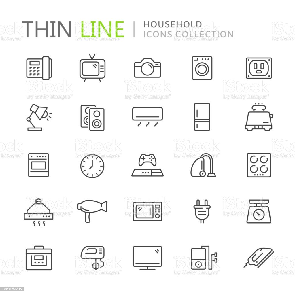 Collection of household thin line icons vector art illustration