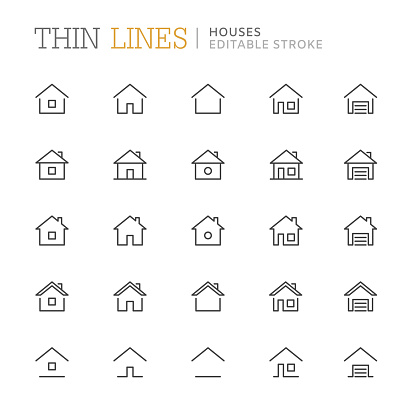 Collection of houses related line icons. Editable stroke