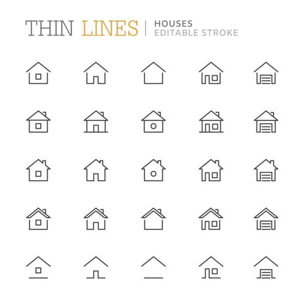 kolekcja domów związanych ikony linii. edytowalny obrys - house stock illustrations