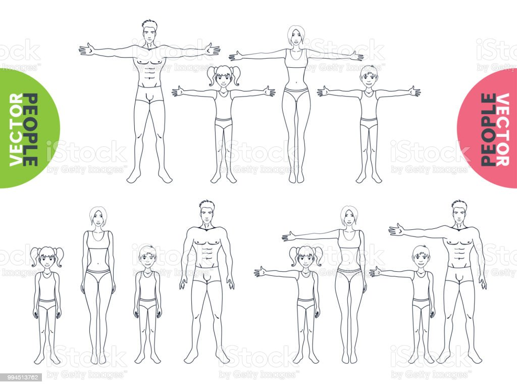 Collection Of Human Body Positions Outline Isolated On White Stock ...