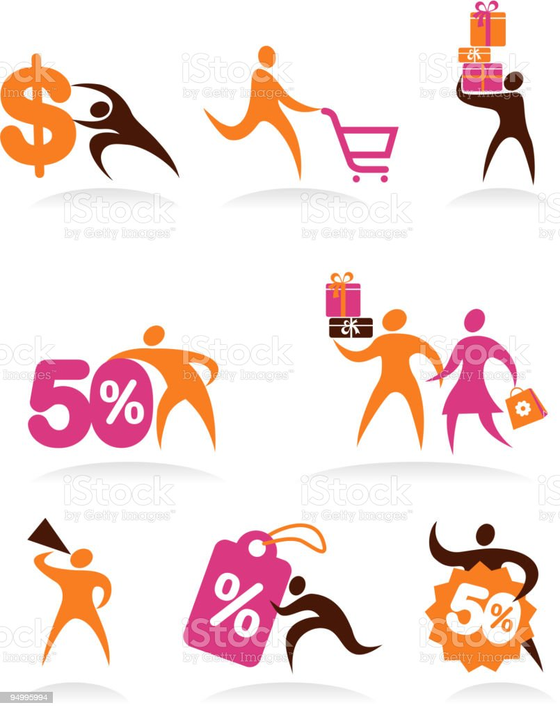 collection of human icons - shopping theme royalty-free stock vector art