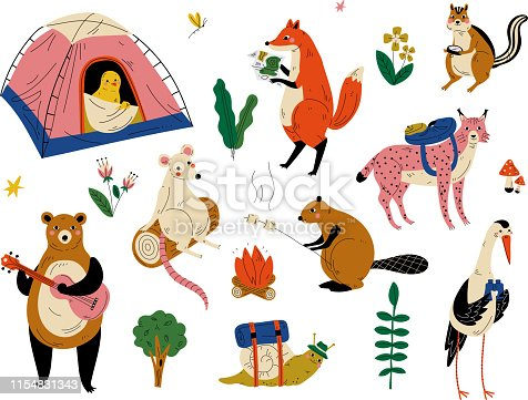 Collection of Humanized Animals Characters Having Hiking Adventure Travel or Camping Trip Vector Illustration on White Background.