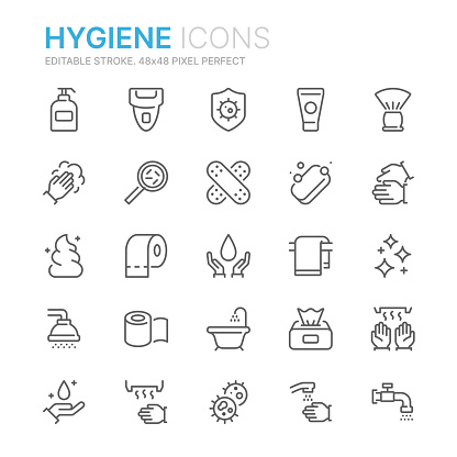 Collection of hygiene related line icons. 48x48 Pixel Perfect. Editable stroke