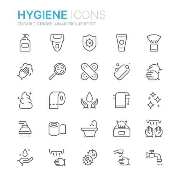 ilustrações, clipart, desenhos animados e ícones de coleção de ícones relacionados da linha da higiene. 48x48 pixel perfeito. curso editable - higiene