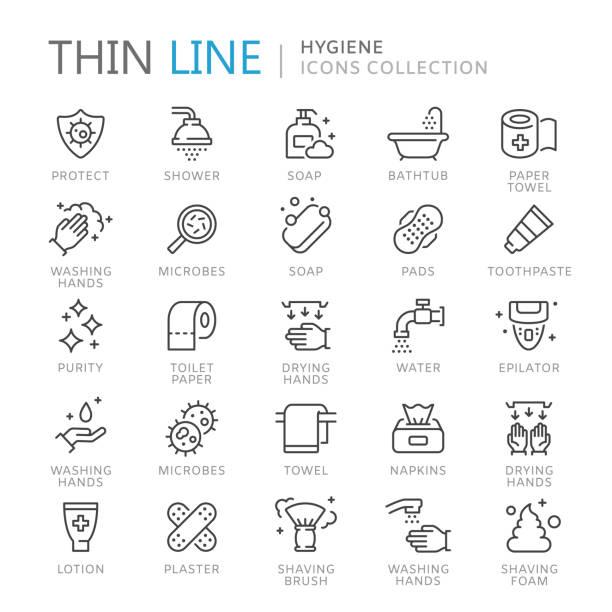 sammlung von hygiene dünne linie icons - mittel stock-grafiken, -clipart, -cartoons und -symbole