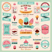 Collection of ice cream labels.Retro style