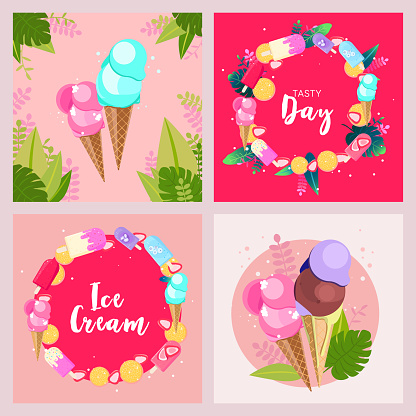 Collection of ice cream, flowers and leaves summer banners for social media square post, banner, flyer
