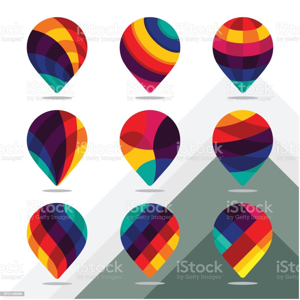 Collection of icon for map pointer / pin with colorful concept vector art illustration