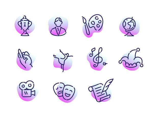 illustrations, cliparts, dessins animés et icônes de une collection d'icônes sur le thème de la culture. plat de vecteur, icônes indiqués isolés sur fond blanc. icônes pour les applications mobiles et de site. - camera sculpture