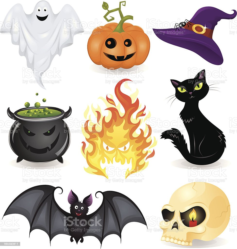 A collection of icons representing Halloween royalty-free stock vector art