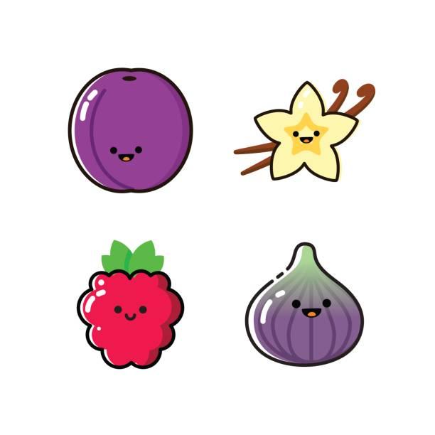 sammlung von icons mit bunten früchten mit einem lächeln - feigensalat stock-grafiken, -clipart, -cartoons und -symbole