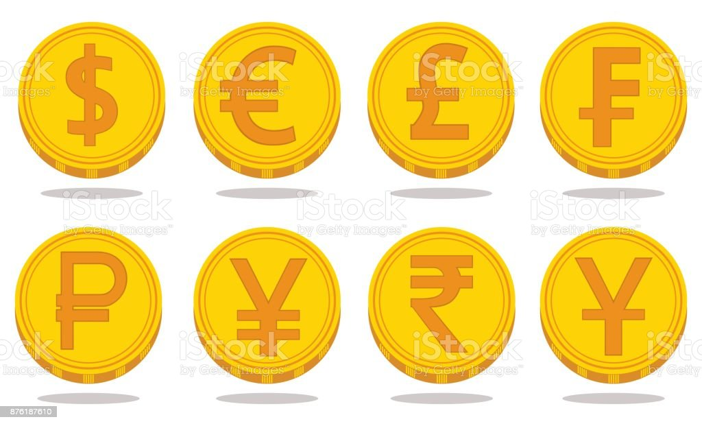 Collection of icons with currency symbols. Vector illustration vector art illustration