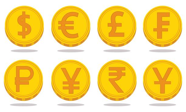 Collection of icons with currency symbols. Vector illustration Vector set of world currency symbols in the form of gold coins with signs: dollar, euro, pound, franc, ruble, yen, rupee, yuan isolated on white background. Financial logos. japanese currency stock illustrations