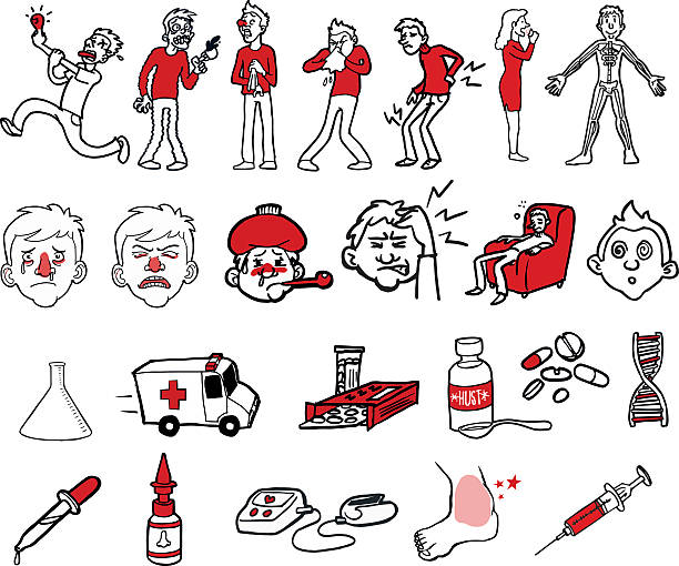 Collection of illnesses and symptoms – Vektorgrafik