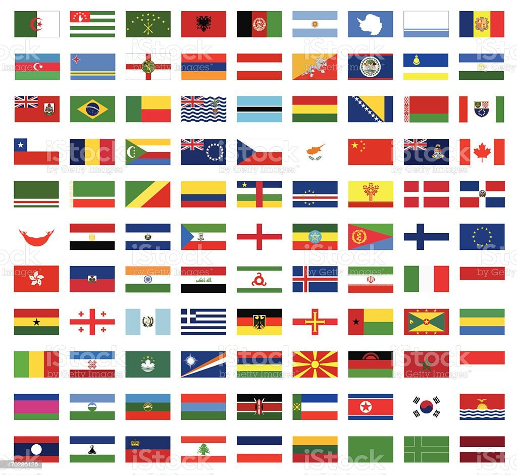 Collection of illustrated bright world flags vector art illustration