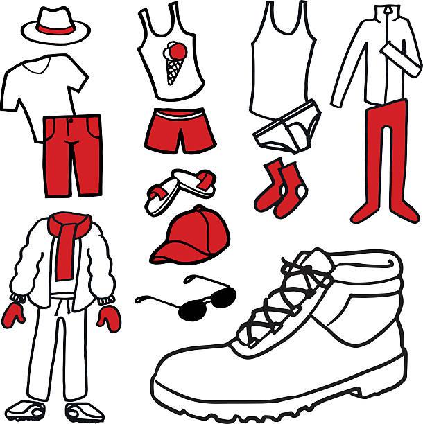 illustrazioni stock, clip art, cartoni animati e icone di tendenza di collection of illustrated clothing - capri