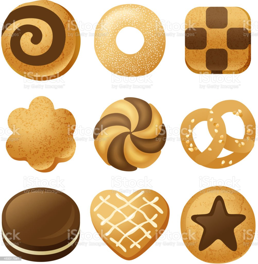 Collection of illustrated cookie icons vector art illustration