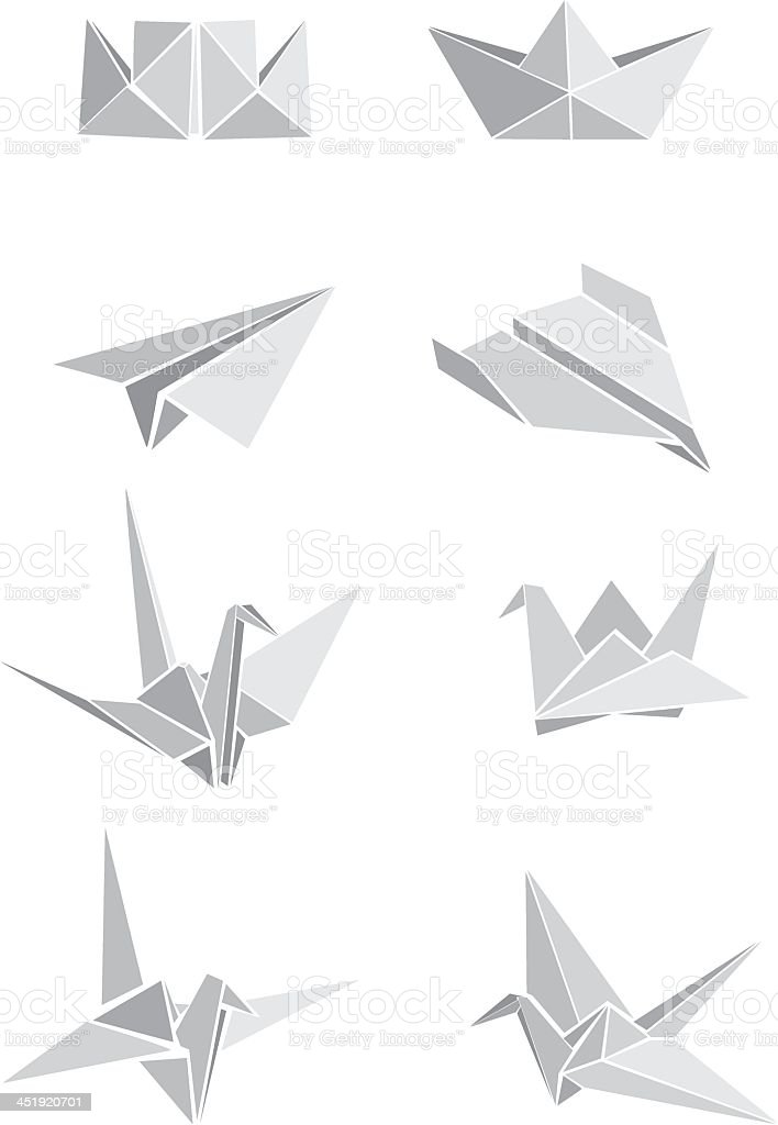 A Collection Of Illustrated Paper Origami Designs Stock Vector Art