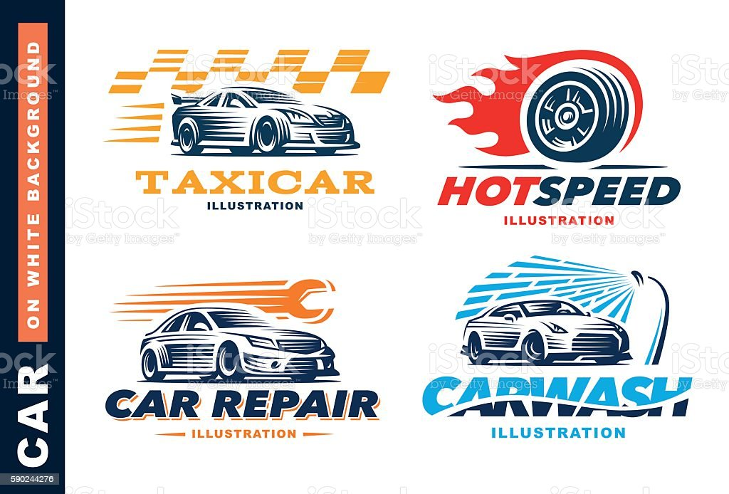 Collection of Illustration car, taxi service, wash, repair, Competitions vector art illustration