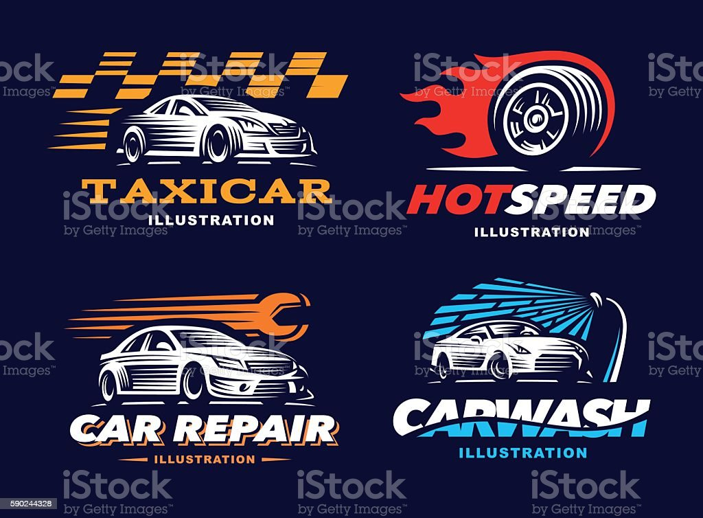 Collection of Illustration car, taxi service, wash, repair vector art illustration