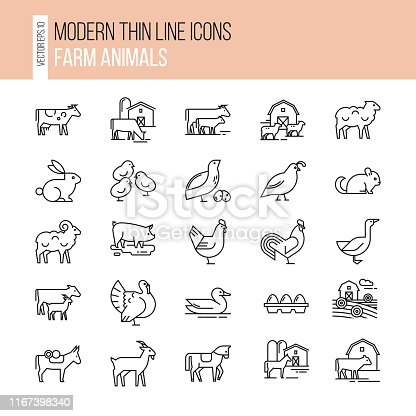 Vector set of farm animals icon set. Collection of illustrations in line style, well-drawn and isolated on white background.