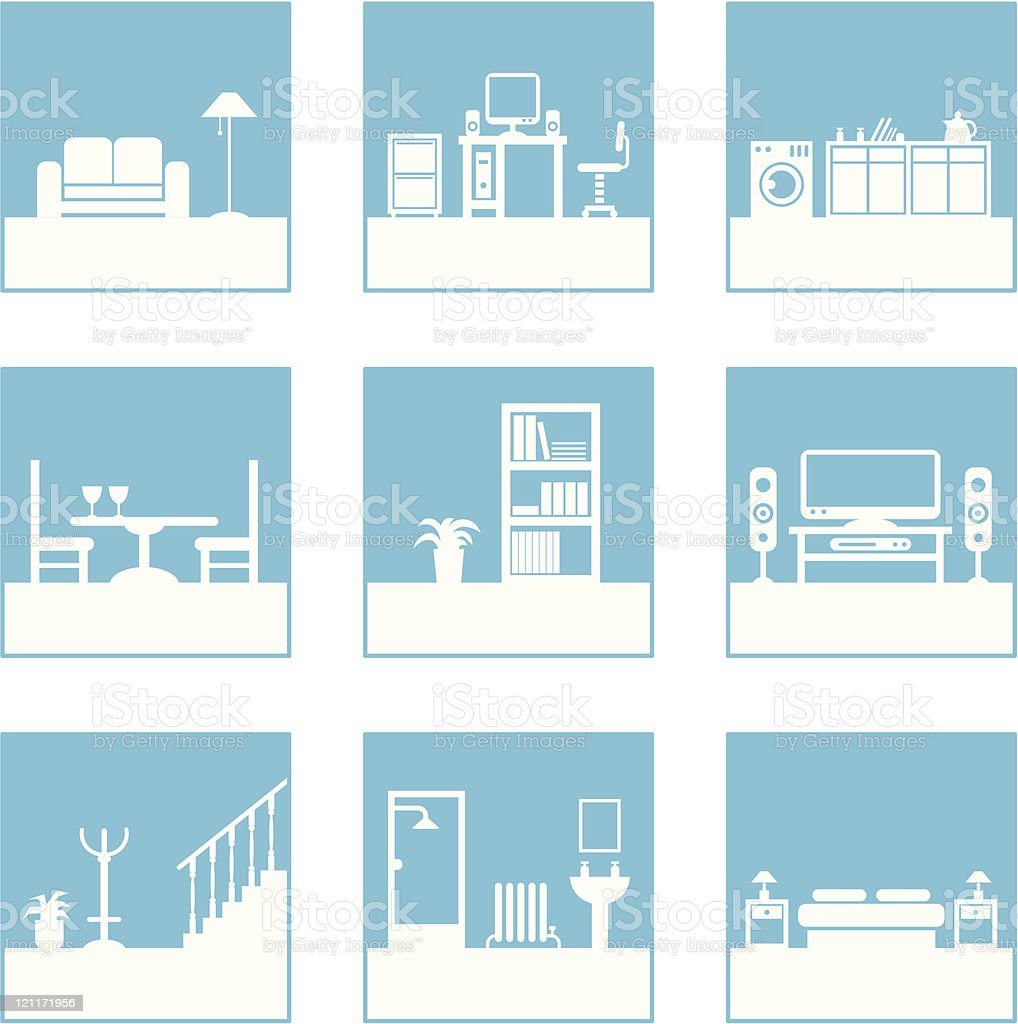 Collection of images showing the different rooms in a house royalty-free stock vector art