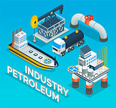 istock Collection of industrial symbols of oil petroleum industry, storage, transportation, extraction 1317389545