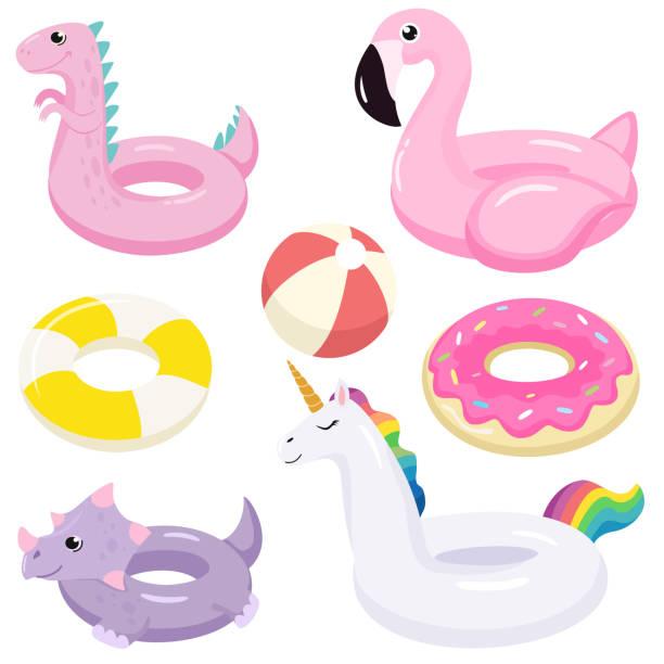bildbanksillustrationer, clip art samt tecknat material och ikoner med uppsamling av uppblåsbara poolflottar. vektor illustration. - inflatable ring