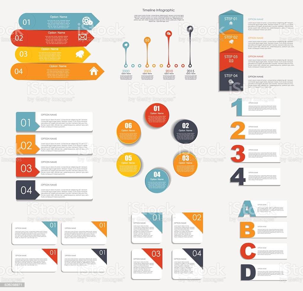 Collection of Infographic Templates for Business Vector Illustra vector art illustration