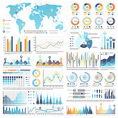 Collection of various types of infographics and charts along with blue template of world map isolated vector illustration on white background