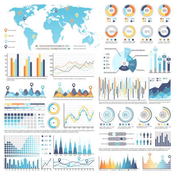 stockillustraties, clipart, cartoons en iconen met verzameling van infographics geïsoleerde illustratie - infographic