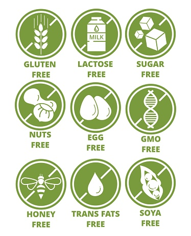 Collection of ingredient warning label icons