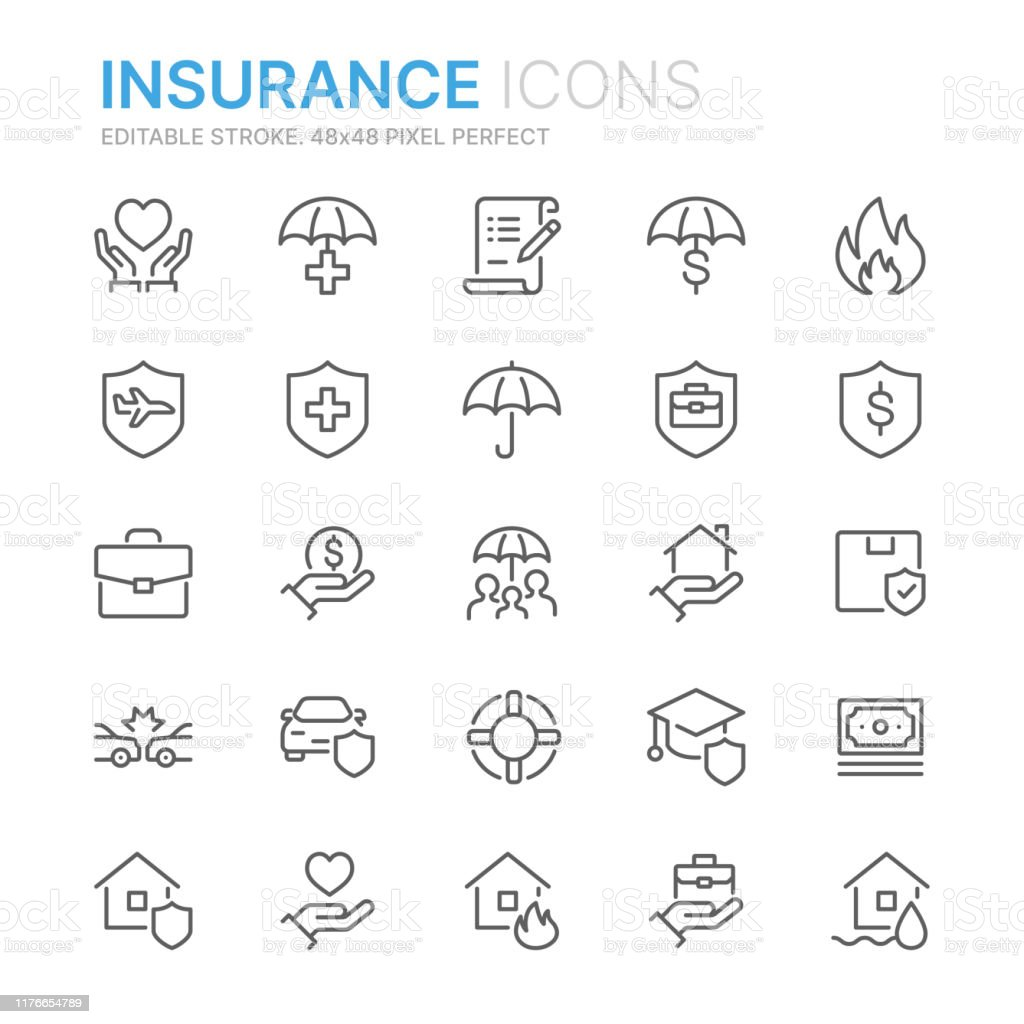 Collection of insurance related line icons. 48x48 Pixel Perfect. Editable stroke - Royalty-free Acaso arte vetorial
