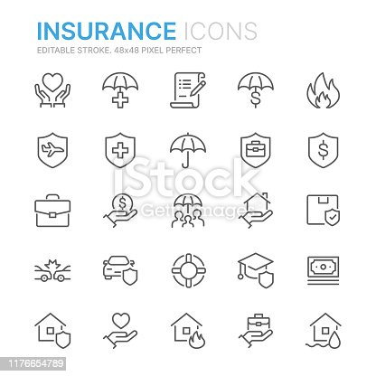 Collection of insurance related line icons. 48x48 Pixel Perfect. Editable stroke