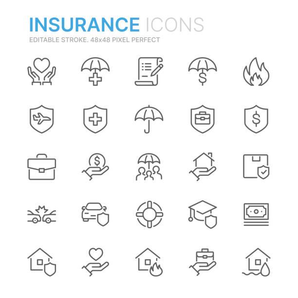 illustrazioni stock, clip art, cartoni animati e icone di tendenza di raccolta di icone di linea correlate all'assicurazione. 48x48 pixel perfetto. tratto modificabile - protezione